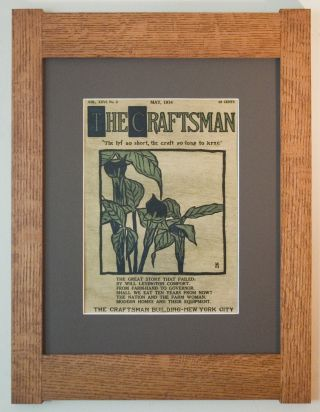 Mission Style Quartersawn Oak Arts & Crafts Framed Print - Craftsman Lillies photo