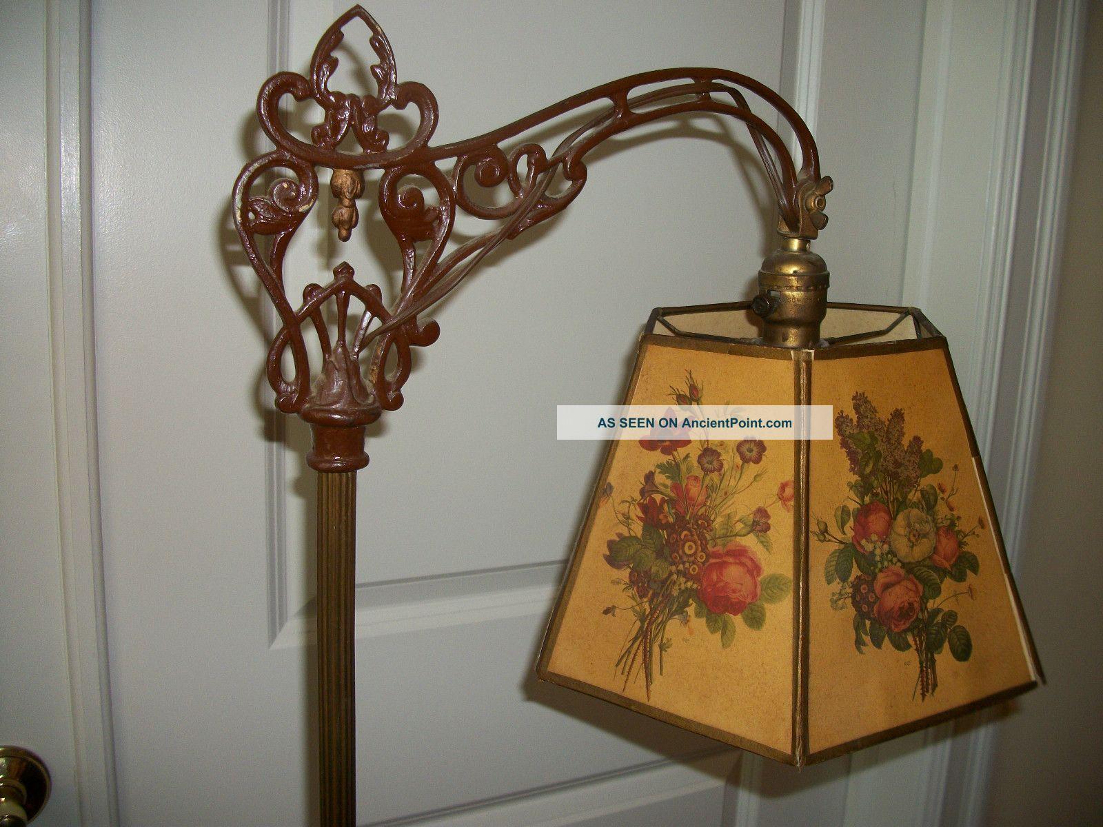 Vtg Early 1920 \' S Antique Art Deco Bridge Arm Cast Iron Floor Lamp ...