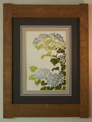 Mission Style Bungalow Quartersawn Oak Arts & Crafts Framed Print - Hydrangea photo
