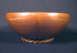 Arts & Crafts Era Hand Hammered Twisted Ring Base Copper Bowl photo