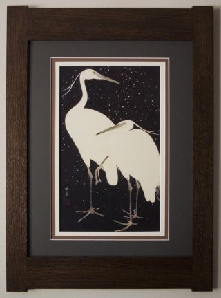 Mission Style Art Quartersawn Oak Arts & Crafts Framed Print - Egrets In Snow photo