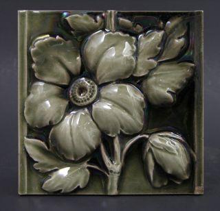 Vintage Early 20th C Arts & Crafts Floral Tile American Encaustic Tile Co 6x6 photo