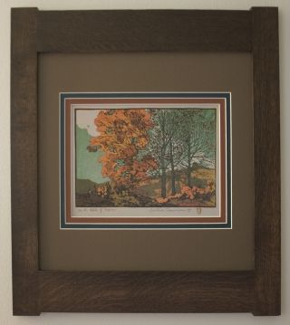 Mission Style Gustave Baumann Arts & Crafts Framed Print - Hills Of Brown photo