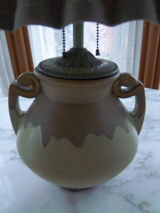 Roseville Pottery Lamp 318 Arts & Crafts Movement Double Handle Two Tone Green photo