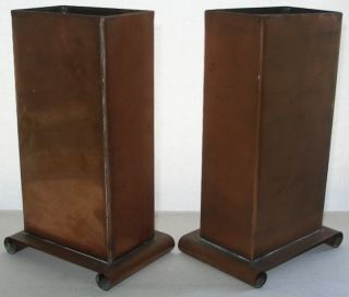 Outstanding Arts Crafts Mission Copper Vase Pair Signed Huber Rare Matching Set photo