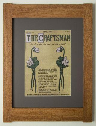 Mission Style Quartersawn Oak Arts & Crafts Framed Print - Craftsman Violets photo