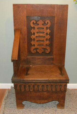 Vintage Mission - Arts & Crafts - Gothic Solid Oak Chair - Underneath Storage photo