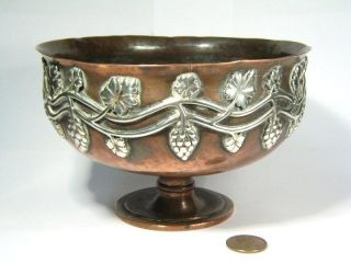 Antique Arts Crafts Copper Silver Bowl Duchess Sutherland ' S Cripples Guild C1910 photo