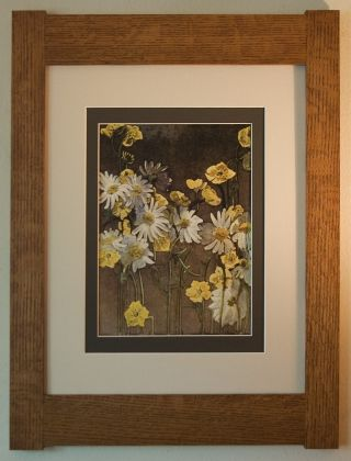 Mission Style Bungalow Quartersawn Oak Arts & Crafts Framed Print - Buttercups photo