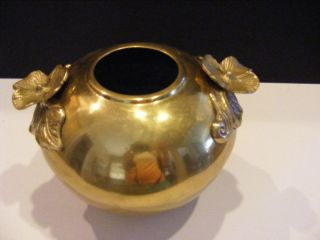 Fab Antique Brass Nouveau Arts & Crafts Vase W 2 Hibiscus Flower Handles photo