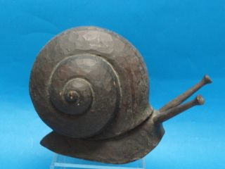 Huge Signed Antique Arts & Crafts Carved Wood Snail ~ 11