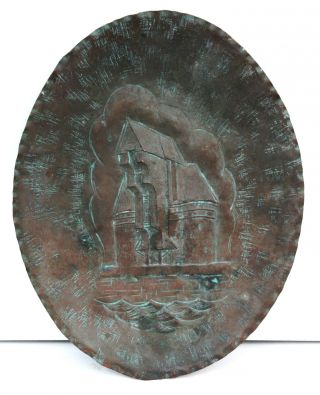 Circa 1910 Mission / Arts & Crafts Hand Tooled Copper Plaque,  Castle Scene photo