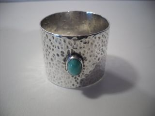 An Arts & Craft Silver & Turquoise Napkin Ring : C1910 photo
