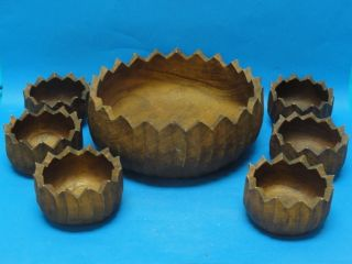 7 Pcs Arts And Crafts Large Hand Caved Wood Bowl & Serving Bowls photo