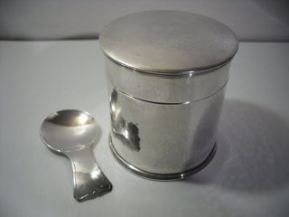 A Silver Guild Of Handicraft Caddy & Spoon : London 1974 photo