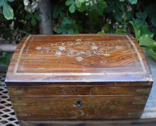 Primitive Turned Wood Compartment Chest Box Brass Inlaid Trinket Scholar photo