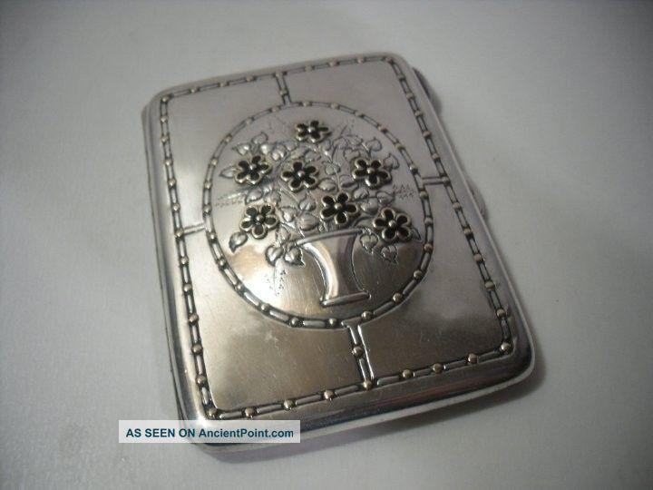 A ' Liberty ' Silver & Enamel Flowers Case : B ' Ham 1924 Card Cases photo