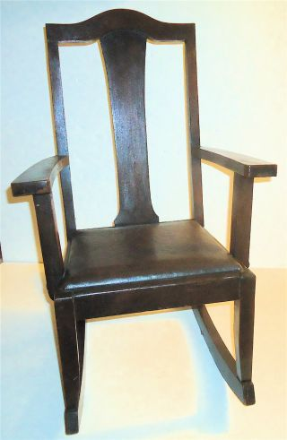 Arts & Crafts Or Mission Style Childs Antique Wood Rocking Chair W/leather Seat photo