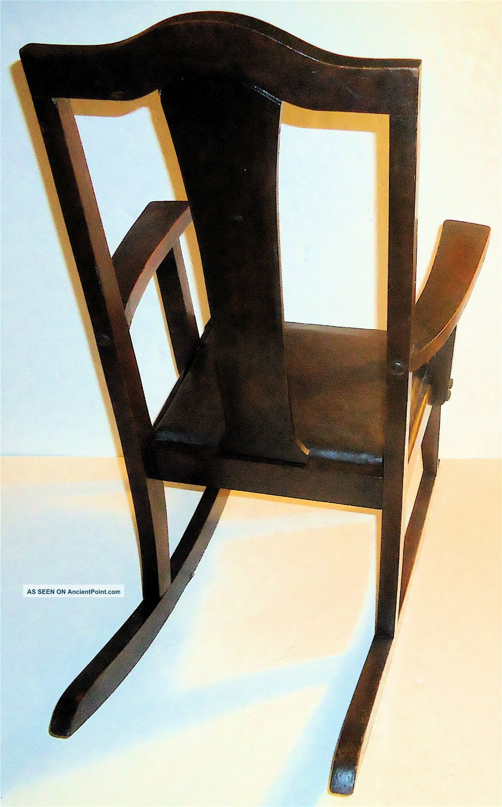 Antique rocking style wood chair seat click photo to enlarge category