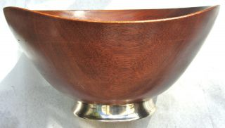 Mid Century Modern Wood Sterling Silver Large Bowl photo