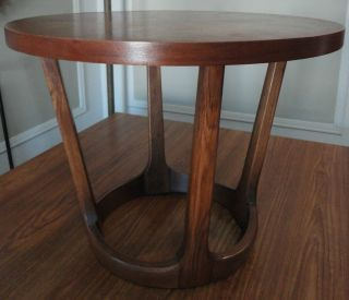 Mid - Century Modern Adrian Pearsall Designed Lane Round Walnut & Oak Table 1964 photo