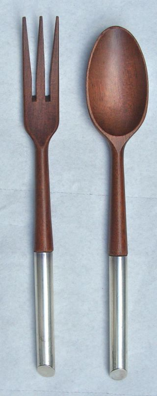 Mid Century Modern Wood Sterling Silver Fork Spoon Salad Serving Pieces Italy photo
