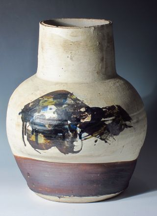 Paul Soldner Vase,  Mid Century,  Otis Years,  Abstract Expressionist Stoneware photo