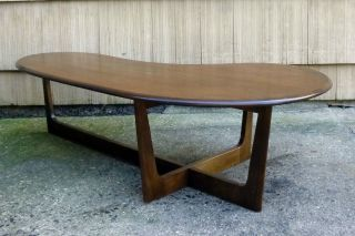Vintage Mid Century Danish Modern Kagan Pearsall Era Walnut Amoeba Coffee Table photo