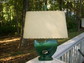 Vintage Mid Century Modern Green Pottery Lamp With Finnial & Shade photo