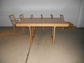 Fabulous Vintage Thomasville Dining Set ~ Table,  Leaf,  6 Chairs photo