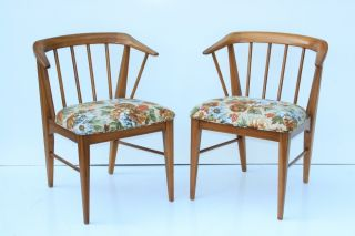 Pair Mid Century Danish Modern Barrel & Spindle Back Dining Chairs Eames Era photo
