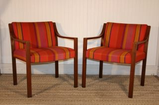 Pair Mid Century Modern Canadian Walnut Curved Arm Chairs Danish Eames Era photo