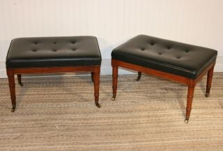 Pair Hollywood Regency Faux Bamboo Tufted Chippendale Benches Stools Adler Style photo