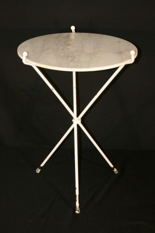 Vtg Mid Century Modern Decorator Italian Marble Top Iron Tripod Occasional Table photo