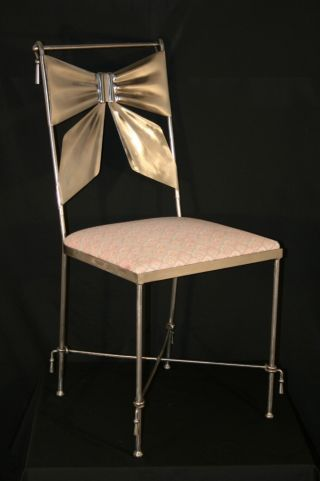 Vtg Mid Century Modern Heavy Italian Metal Ribbon Bow & Tassel Side Chair Chrome photo