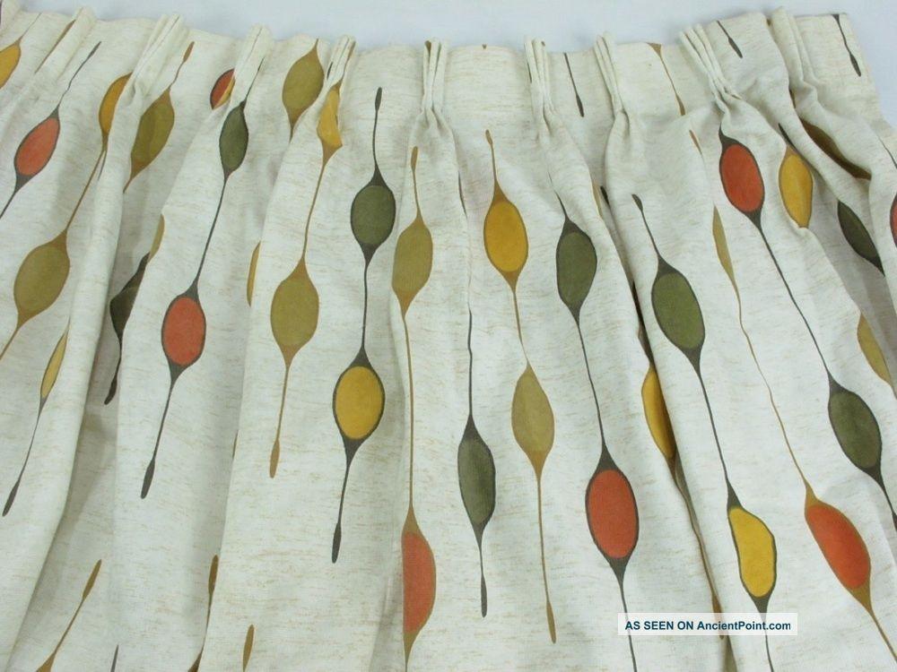 Vtg Curtains Drapes Mid - Century Modern 52