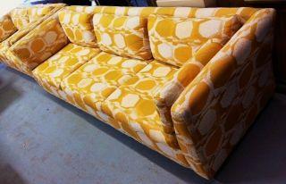 Milo Baughman Era Mid Century Modern Sofa Jack Lenor Larsen Style Upholstery photo