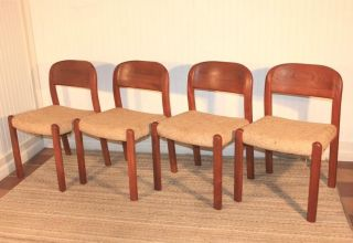 4 Vtg Mid Century Danish Modern Solid Teak Wood Dining Chairs Moller Eames Era photo
