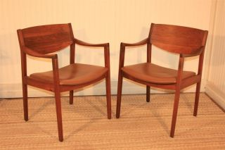 Set 4 Gunlocke Vtg Mid Century Modern Walnut Curved Arm Sculpted Chairs Danish photo