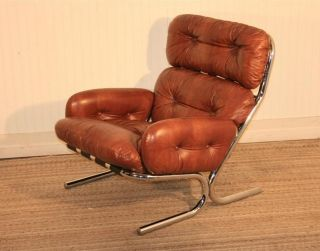 Mid Century Modern Chrome Lounge Chair By Directional Eames Baughman Evans Era photo