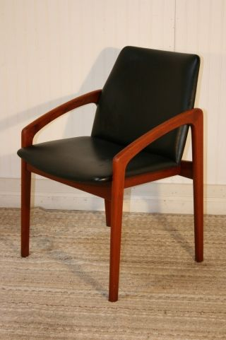 Vtg Kai Kristiansen Mid Century Danish Modern Teak Arm Chair Dining Desk Denmark photo