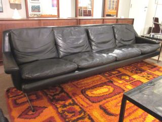 Mid Century Black Leather 4 - Seater Sofa C1960s Made In Germany photo