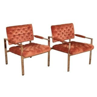 2 Mid Century Modern Chrome Milo Baughman Thayer Coggin Flat Bar Lounge Chairs photo