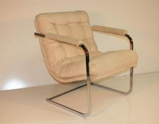 Mid Century Modern Chrome Tufted Cantilever Arm Chair Milo Baughman Coggin Era photo