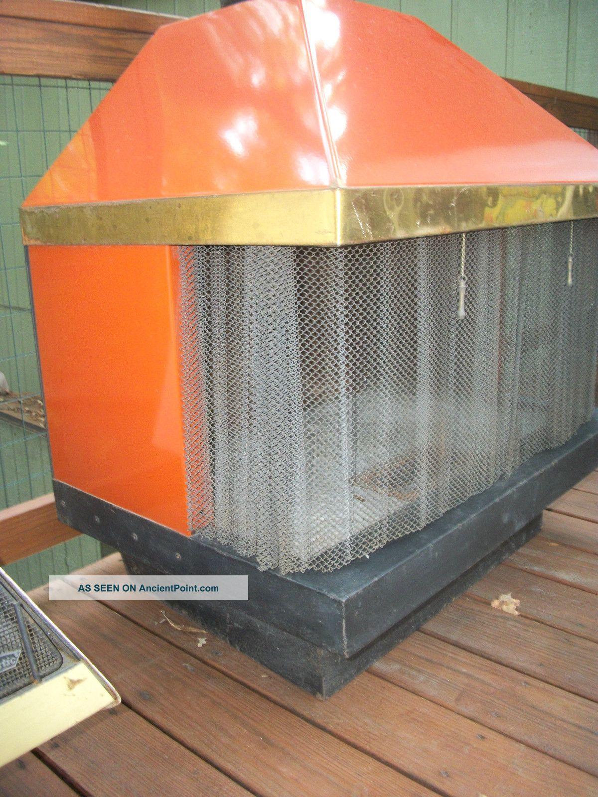 retro mid century mod orange majestic freestanding cone fireplace
