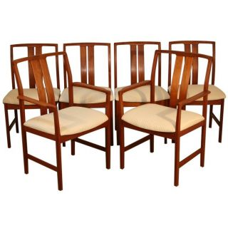 Set 6 Mid Century Danish Modern Teak Dining Chairs James Mont Moreddi Moller Era photo