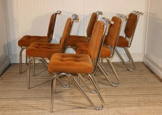 6 Mid Century Modern Daystrom Chrome Hairpin Leg Dining Kitchen Chairs Eames Era photo