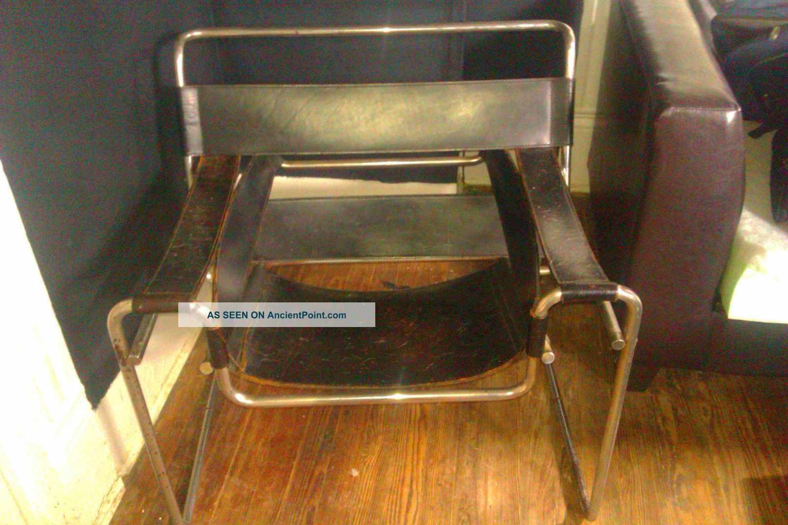 Knoll wassily chair black leather metal lounge vintage post 1950 photo