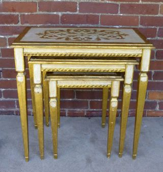 Vtg Italian Mid Century Hollywood Regency Gilt Wood Florentine Nesting Tables photo