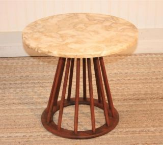 Vtg Mid Century Modern Low Marble Top Spindle Base Occasional Table Danish Style photo